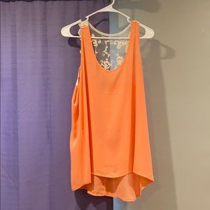 Orange tank top with lace